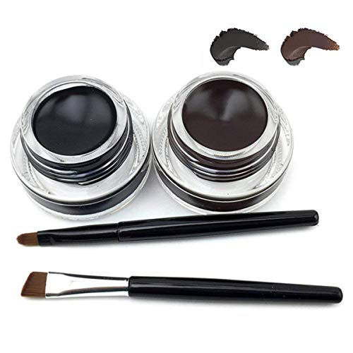 Für Wasserdicht 2 in 1 Gel Eyeliner-Fatetec Beauty Kosmetik Make Up Langlebige Schatten Gel Creme Eye Liner mit Makeup Augenbrauen Pinsel Kit (Set3)