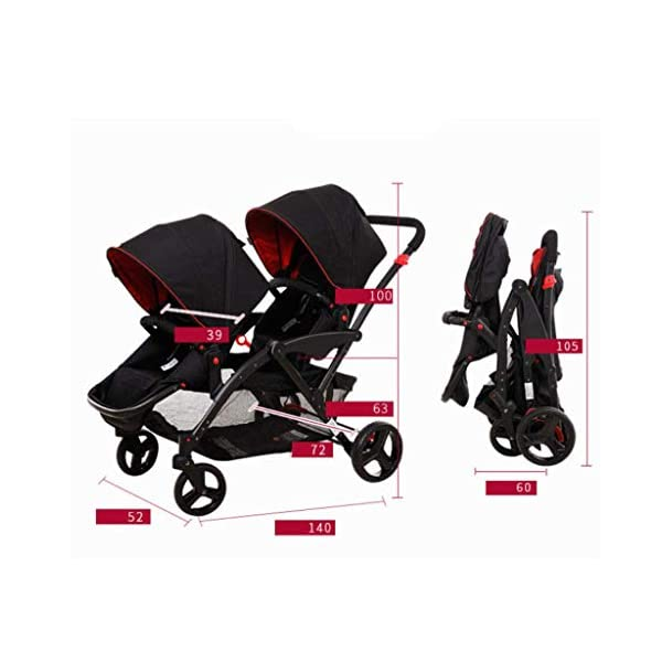 Connect Tandem Pushchair Twins Baby Stroller Can Shock Can be Split Two Tires Double Trolley Travel System  Lightweight and compact Travel System ideal for everyday use or travel. One-hand fold mechanism lets you easily fold the pushchair. Multi-position reclining chair for comfort. 2