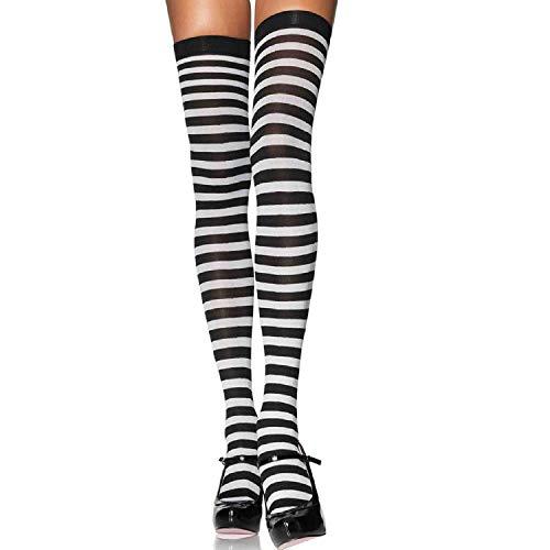 �bergröße Nylon Gestreifte Strümpfe, Größe 44-46, schwarz/weiß, Damen Karneval Kostüm Fasching ()