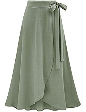 Falda Largas Elegante Mujer Alta Cintura Maxifalda A-Line / Verde 2XL
