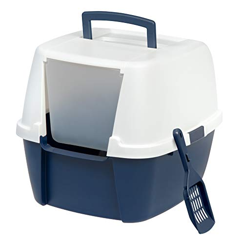 Iris Jumbo Hooded Litter Box with Scoop, Navy -