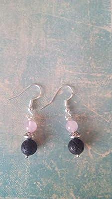 Boucles d'oreilles pendantes en quartz rose et pierre de lave, diffuseurs d'huiles essentielles