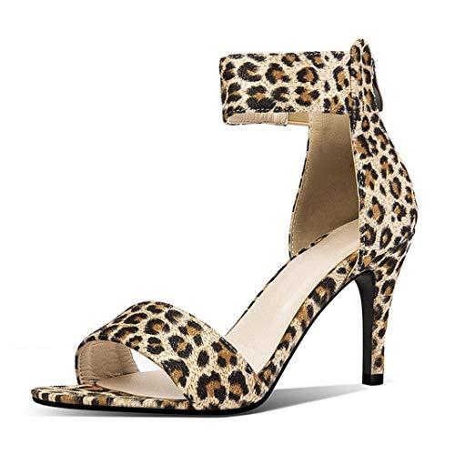 Damen 8,5 cm Dünne Fersen Zip Sandalen Sommer Peep-Toe- Beiläufige Partei PU Frauen im Freien Open-Back Knöchelriemen Schuhe - Leopard Vamp Denim