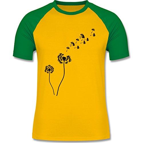 Statement Shirts - Pusteblume Löwenzahn - zweifarbiges Baseballshirt für Männer Gelb/Grün