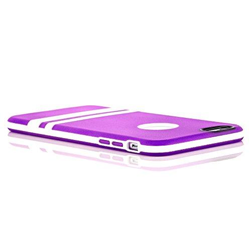 Saxonia Apple iPhone 6 Plus / 6S Plus Hülle Silikon Case Schutzhülle mit weißem Rahmen Rosa Violett