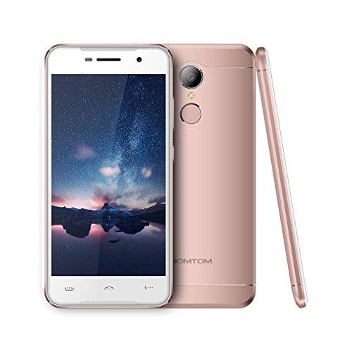 "Smartphone Libres Baratos, HOMTOM HT37 Moviles Android 6.0 de 5.0"" Full HD (3G, 2GB RAM + 16GB ROM, 8.0MP + 2.0MP Cámara, Altavoces Dobles, Luces de Respiración, Dual-SIM, Huella Digital) (Rosado)"