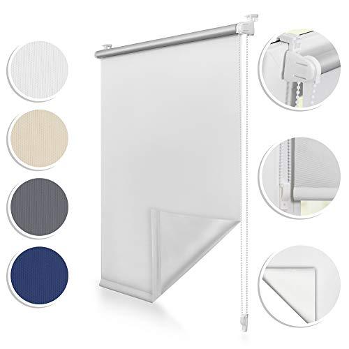 ROOMY Thermo-Rollo Klemmfix, 70 x 150 cm, ohne Bohren, blickdichte Verdunkelung für Fenster und Türen, attraktiver Sicht- und Sonnenschutz in Weiß, einfache Montage Dank Click-System