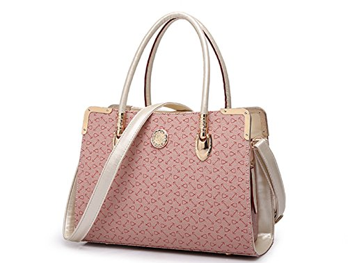 Da donna, in pelle sintetica, motivo Celebrity-Borsa 3 in 1: borsa a tracolla (rosa)