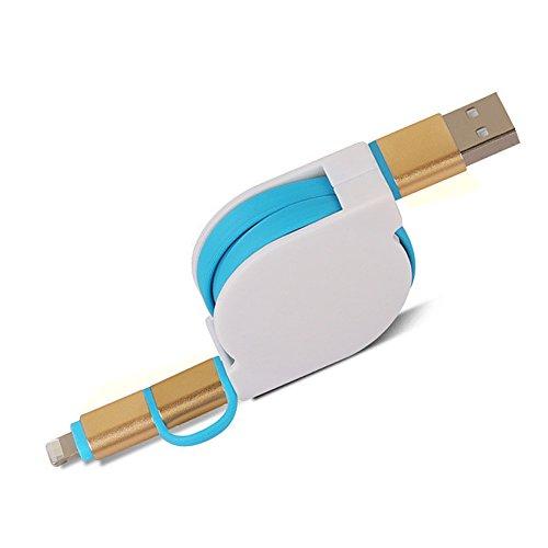 thanly cavo USB 1m 2in 1Cavo Retrattile Lightning 8Pin + V8Micro USB di ricarica e (Belkin Cavo Usb Hub Libero)