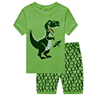 Little Hand Boys Short Pyjamas Sets Dinosaur Boys Pjs Short Sleeve Cotton Sleepwear for Age 1-7 Years