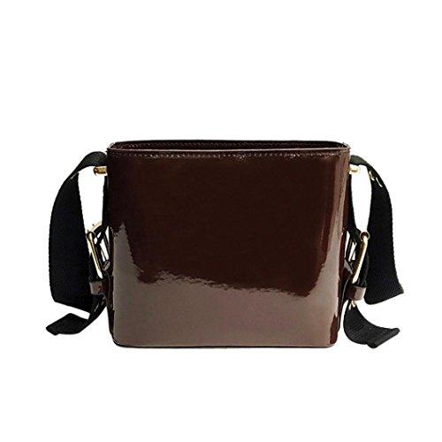 n Lackleder Eimer Taschen Crossbody Umhängetasche (Brown) (Eimer Crossbody Handtasche)