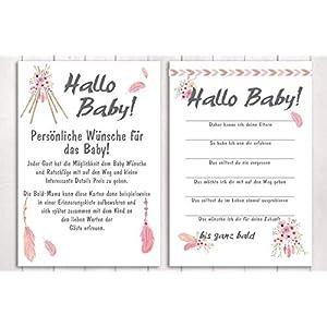 "10 Karten""Hallo, Baby!"" Babyparty Spiel BOHO"