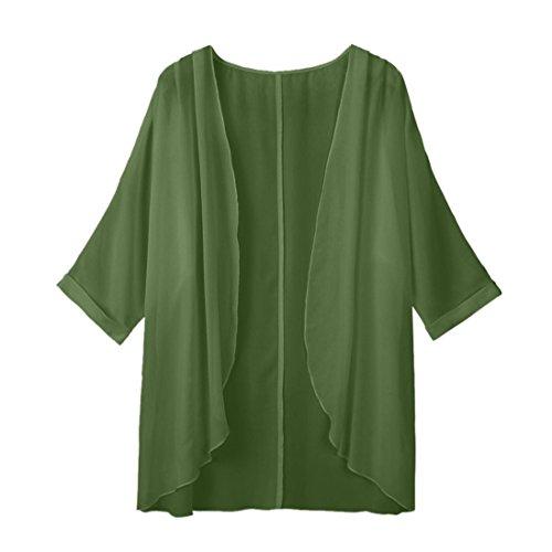 TEBAISE Herbst Frauen Wochenendausflug Sunwear Solide Schlank Sheer Lose Kimono Cardigan Casual Strand Capes Jumper(Armeegrün,Freie)