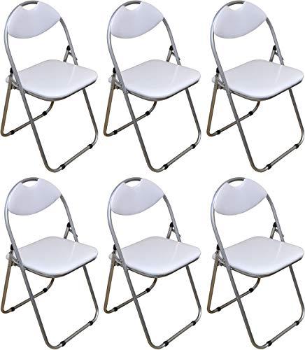 Klappstuhl - gepolstert - Weiß - 6 Stück
