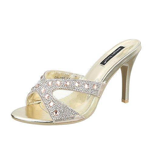 Pantoletten Damen Schuhe Jazz & Modern Pfennig-/Stilettoabsatz High Heels Ital-Design Sandalen / Sandaletten Gold, Gr 37, Gh-196-