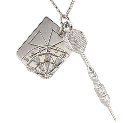 *Silber Männer Anhänger von m3crystal edle Kettenanhänger aus 925 Silber Arrow Darts Sliver Nickelfrei Sterling 55 cm Halskette Rhodium tolles Geschenk für Männer (Darts Schild)*