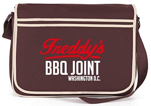 Shirtstreet24, HOC - Freddys BBQ Joint, Retro Messenger Bag Kuriertasche Umhängetasche Braun