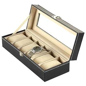Readaeer Uhrenbox für 6 Uhren Kasten Speicher mit Glasdeckel schwarz aus PU-Leder [MEHRWEG]