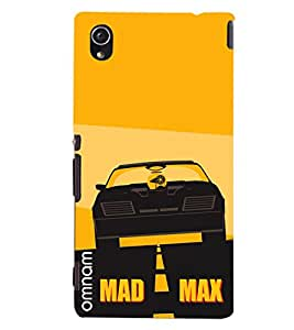 Omnam Mad max with car printed orange back cover for Sony Xperia M4