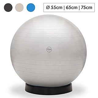 aktivshop Gymnastikball inkl. Ballschale Fitnessball Sitzball Fitness Ball Yogaball Sportball Anti-Burst Gymnastikball Büroball 55 cm Silber