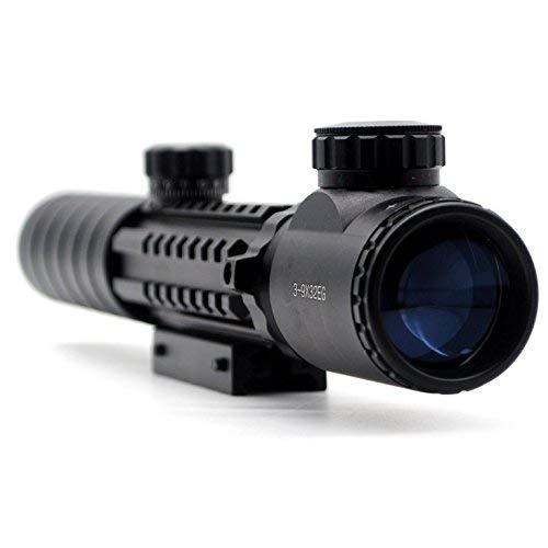 Trirock Jagd Zielfernrohr 3-9x 32eg Rot und grün Beleuchtet Gewehr Reflex Sight Scope mit 20mm Picatinny Schiene Mount & Bahnhof