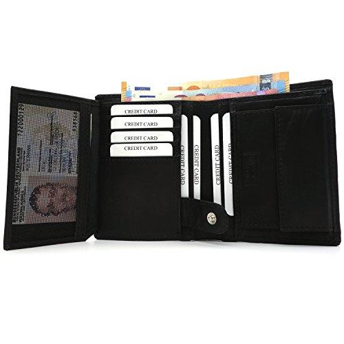 NEU: Premium RFID Geldbeutel Herren - Leder Geldbörse Herren schwarz – Portemonnaie groß Brieftasche hochformat inklusive Geschenkbox – Geldbörse handgefertigt aus echtem Leder (Die Elektronische Geldbörse)