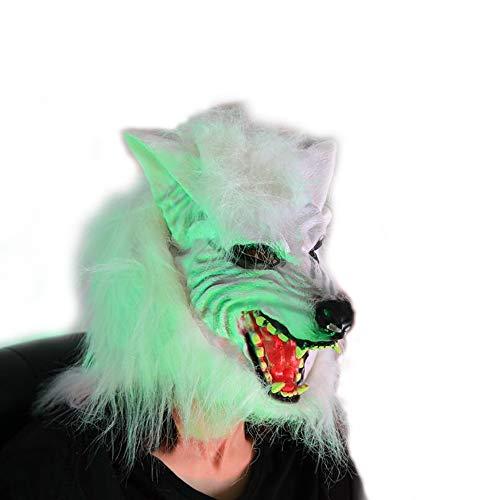 GHH Werwolf-Maske Mit Haaren Halloween Dress up Braune Werwolf-Maske Mit Scharfen Spitzen Zähnen Erwachsene Größe,White