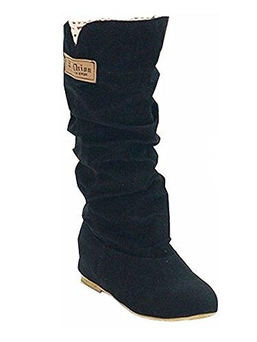 Minetom Damen Herbst Winter Elegant Beiläufig Flache Schuhe Knie Stiefel Slouchy Schneestiefel Süß Lange Stiefel Schwarz EU 40 (Zoll-knie-boot 6)