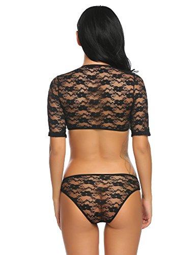 Avidlove Damen Body aus Spitze V-Ausschnitt Bodysuit Erotik Dessous Tops Negligee Babydoll Reizwäsche Lingerie Schwarz