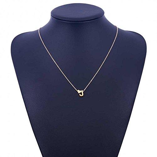 Yuneody Love Herz Buchstabe Alphabet Anhänger Halskette Initiale Charms Halskette für Frauen (J)