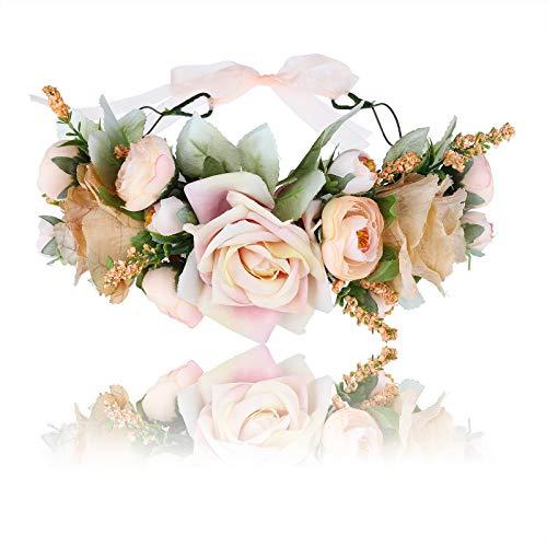 n Stirnband Blumenkranz - Blühen Blumenkrone Girlande Kopfschmuck Festival Hochzeit Party Einstellbar mit Band (Gelb) ()