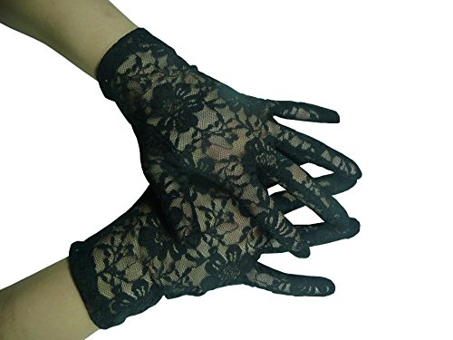 HO-Ersoka Damen Finger Handschuh Spitze kurz schwarz