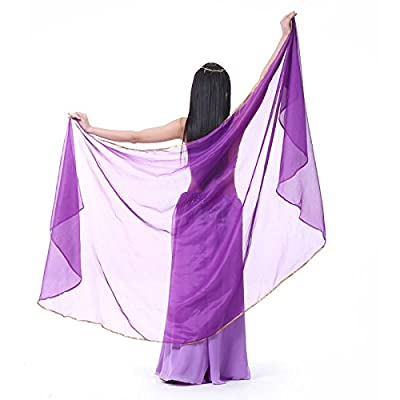 New 250*120cm Large Chiffon Belly Dance Veils Shawl Scarf Oriental Eastern Costumes for Women Bellydance Indian Dancing Accessories dark purple One Size