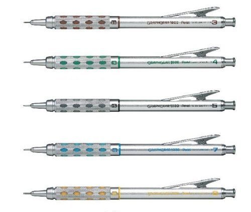 Pentel Graphgear 1000 Automatic Drafting Pencil, 0.3 mm, 0.4 mm, 0.5 mm, 0.7 mm, 0.9 mm 5pics Set by Pentel