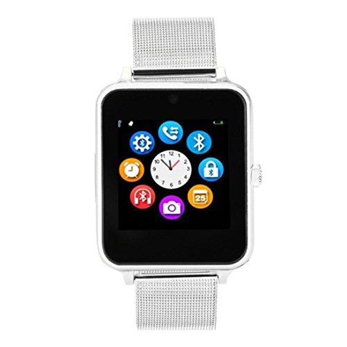 Huhu833 Bluetooth Smartwatch, Z60 Plus Smartwatch Schrittzähler Sitzende Erinnerung Schlaf Monitor Remote Kamera für iPhone IOS und Android Smartphones (Silber)