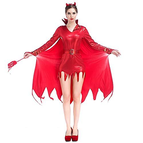 MHPY HalloweenErwachsene Frauen Halloween Red Devil Kostüm Cow Vampire Flash Strumpfhosen Robe Kleid Witchcraft Cosplay Kleidung - Weibliche Red Devil Kostüm