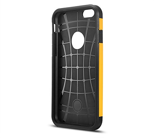 "iProtect Apple iPhone 6 (4,7"") PC + TPU Hybrid Hülle Dual Protection Hard Case Schutzhülle schwarz und dunkelblau Dual Protection Schwarz Gelb"