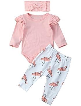 Carolilly Neugeborenes Baby Mädchen Langarm Body Romper Overalls + Hosen Outfits Set Kleidung Set