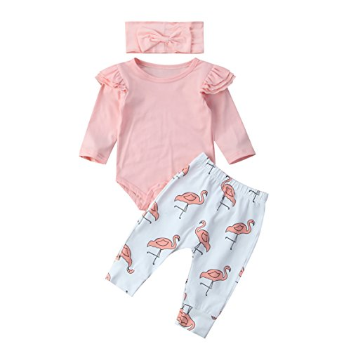 Mädchen 7 Outfit (Carolilly Neugeborenes Baby Mädchen Langarm Body Romper Overalls + Hosen Outfits Set Kleidung Set (6-12 Monate, Rosa Flamingo))