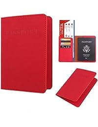 Sannysis funda pasaporte viaje, pasaporte cartera organizador pasaporte juguete Protector Organizador de viaje dedicado Estuche de portada de la tarjeta de identificación (Rojo)