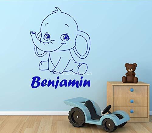Bebé Elefante Niños Personalizado Nombre Mural Pegatina de Pared
