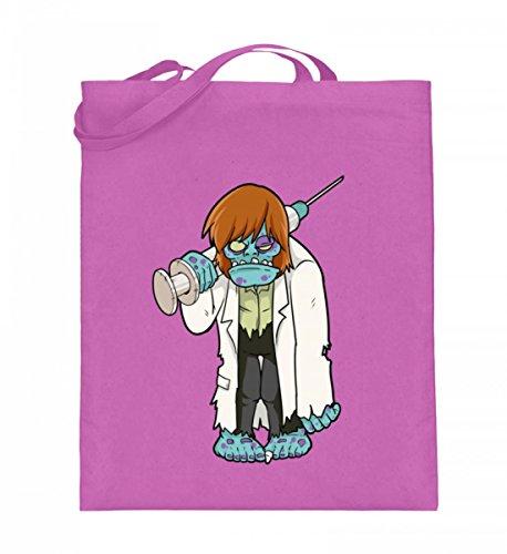 Hochwertiger Jutebeutel (mit langen Henkeln) - Doktor Zombie - Untoter Arzt Mit Grosser Spritze und Arztkittel - Horror Monster Halloween
