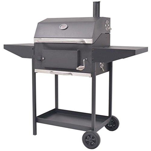 Festnight Barbacoa Ahumador de Carbón con Estante Inferior Color de Negro Material de Acero