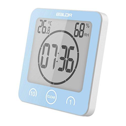 GuDoQi Badezimmer Uhr Dusche Timer Wand Wecker Digitaluhren Steckdose Bad Wasserdicht Innen Thermometer Hygrometer Für Dusche Kochen - Dusche Uhr Lcd