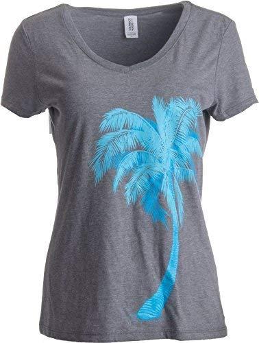 Palmen-Motiv - süßer, tropischer Print - V-Ausschnitt Damen Karibisch T-Shirt - M - Florida-t-shirts