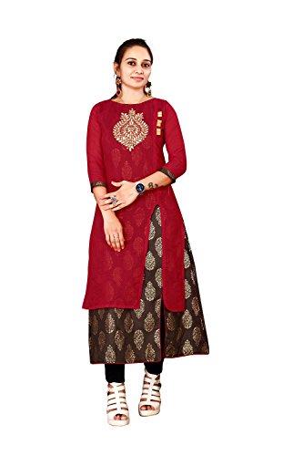 Dhruvi Trendz Women's A-line Kurta(Kurti for women (DT-k1098-S) _Red_Small)