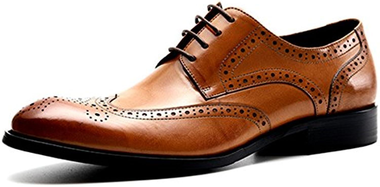 Yr-r Zapatos Casuales De Cuero Genuino De Los Hombres Brogue Derbys Zapatos Para El Trabajo Oficial Del Banquete... -