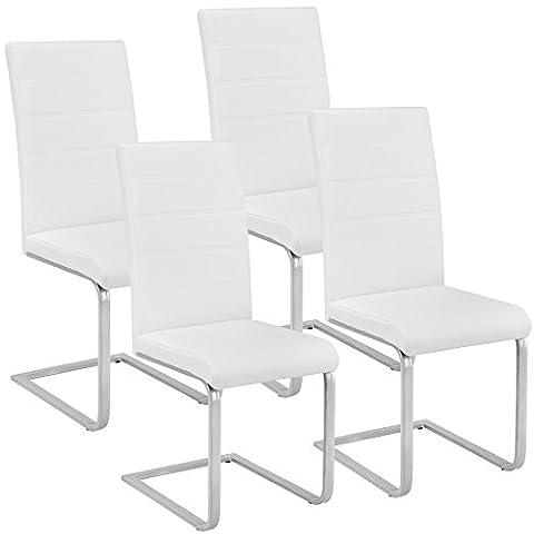 TecTake Lot de 4 Chaise de Salle à Manger Chaise Cantilever | Cuir Synthétique Blanc