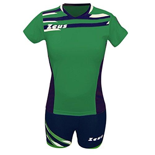 Zeus Kit Itaca Donna Damen Volleyball Trikot Hose Shirt Indoor Handball Training Ausbildung Grün-Blau (XL)