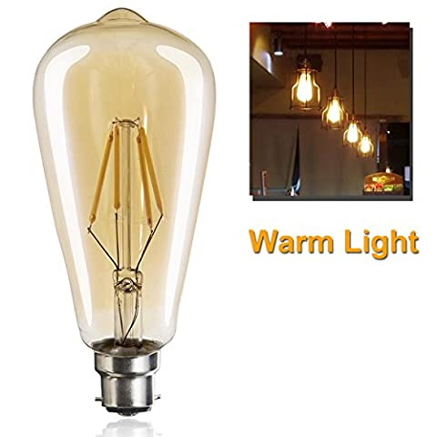 4W LED Light Bulbs ST64 B22 Bayonet Warm Light 2700K Not Dimmable